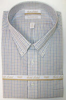 Roundtree & Yorke Gold Label Non Iron Plaid Dress Shirt White Blue Tan $75
