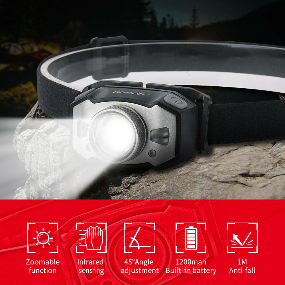 Smart Sensor Head Torch LED Flashlight Rechargeable USB Super Bright