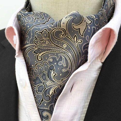 Mens Colorful Checks Paisley Floral Ties Scarves Cravat Ascot Wedding Necktie