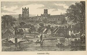 C8786 England - Ely - View Of The Cathedral - Stampa Antica - 1892 Engraving