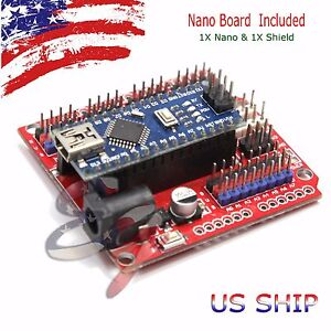 NANO-I-O-Expansion-sensor-Shield-RED-Module-and-Arduino-UNO-R3-Nano-V3-0-board