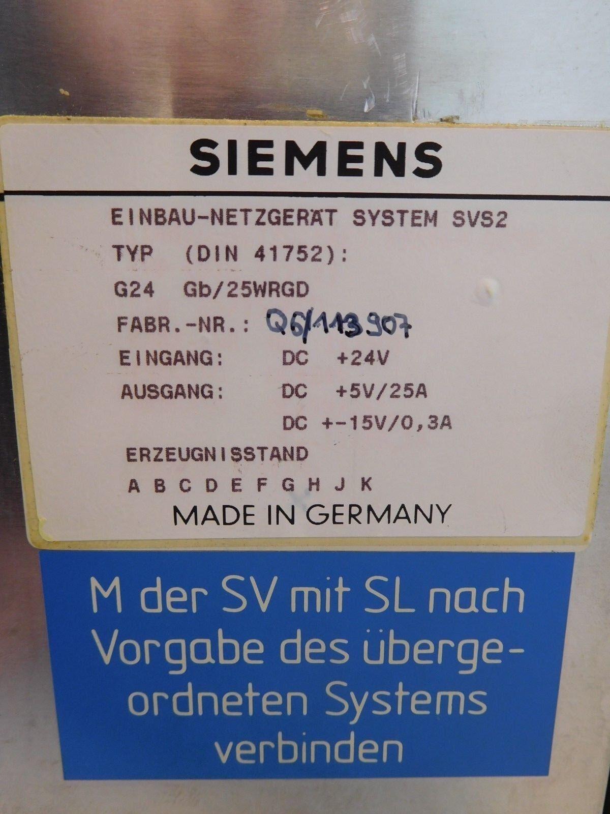 Siemens 6ev3054-0dc Installation-VLP système type: svs2 type: système g24 GO/25 wgrd a9a0bc