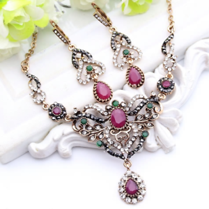 Vintage Style Multi-Color Austrian Crystal Antique Gold Necklace and Earring Set