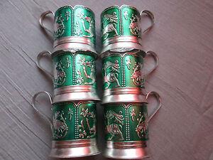 VINTAGE LOT 6 SOVIET RUSSIAN TEA GLASS HOLDER PODSTAKANNIK SAMOVAR