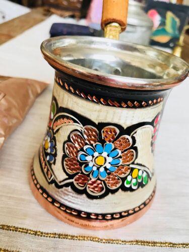 Cezve Argento e Blu Rosso Smalto incisa Handmade rame CAFFETTIERA TURCA