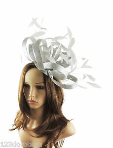 Image is loading Large-Silver-Grey-Fascinator-for-Ascot-Weddings-Derby- b9a8769ebb4