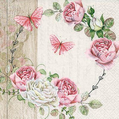 5 Servietten Rosen roses MUSIK Serviettentechnik Motivservietten Blumen flowers