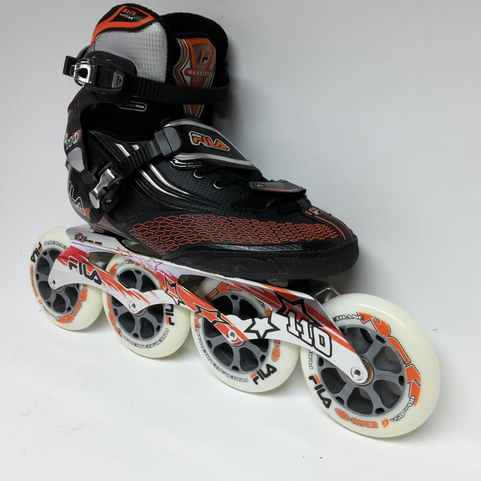 Inlineskating 41 TOP Fila M 110 black Speedskate Marathon Inline Skates 110 mm Rollen Gr