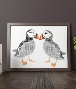 Personalised Puffins Word Art Print Couple Wedding Gift Custom Word Art
