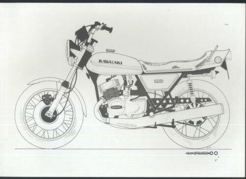 Kawasaki 750 H2 (1973) B/W Drawing/Print H2A (not sales brochure) La Cruise BM41