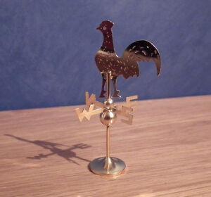 1/12, Miniature Maison De Poupées Coquelet Girouette Coq Toit Cheminées Bn Lgw