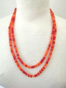 Vintage-Long-Orange-Square-Murano-style-Glass-bead-Flapper-Necklace-Gift-Boxed