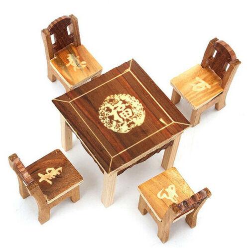 1:12 Dollhouse Miniature Furniture Mini Dining Room 1 Table + 4 Chair 5Pcs Set