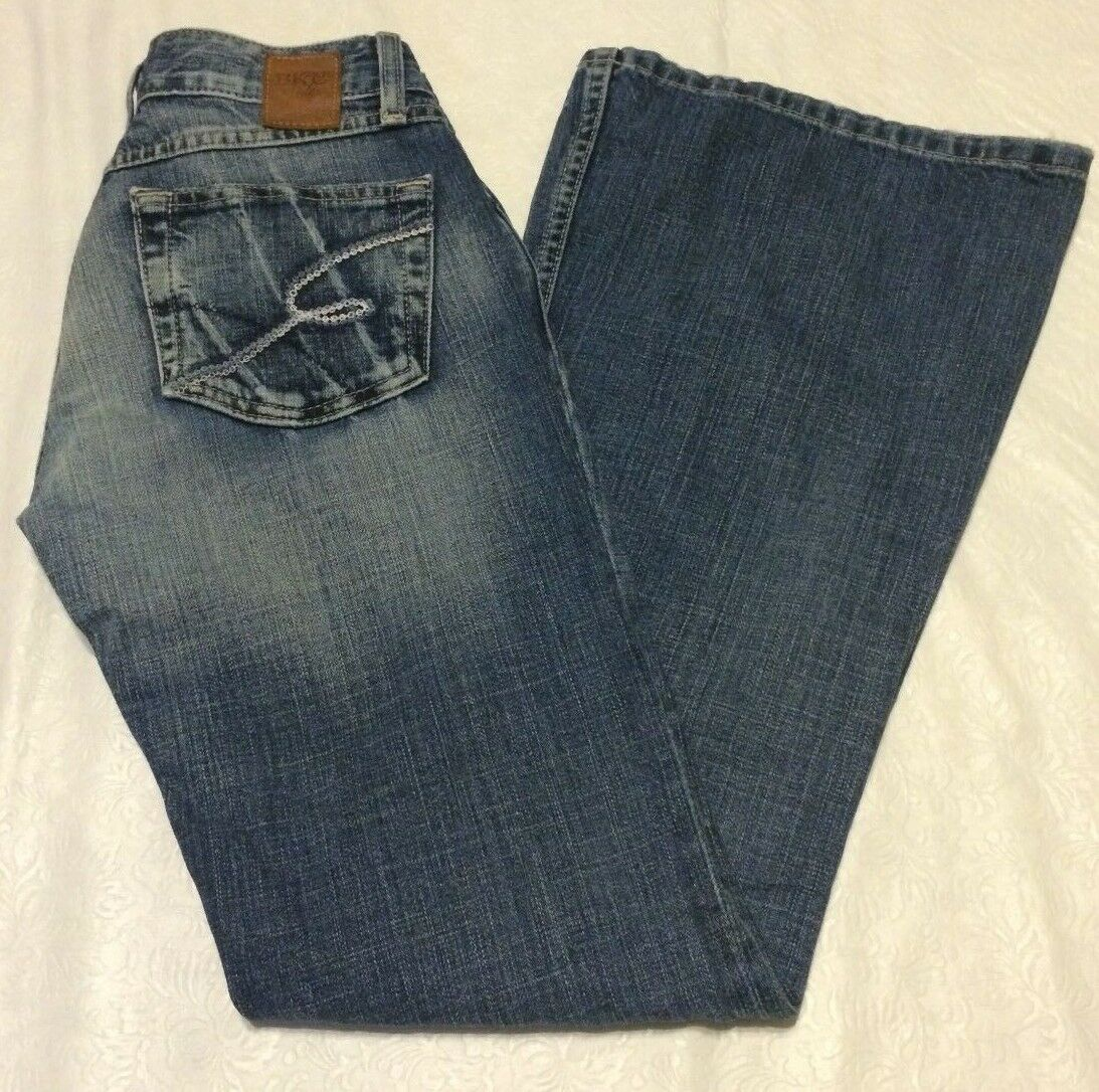 Bke Star Lite womens jeans distressed size 26 low rise boot cut