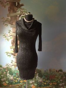 6caf38be12a5 Express Knit Sweater Dress Bodycon Black and Silver 3/4 Sleeve Size ...