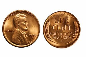1954 D  Lincoln Wheat Cent Choice BU RED GEM Free Shipping!