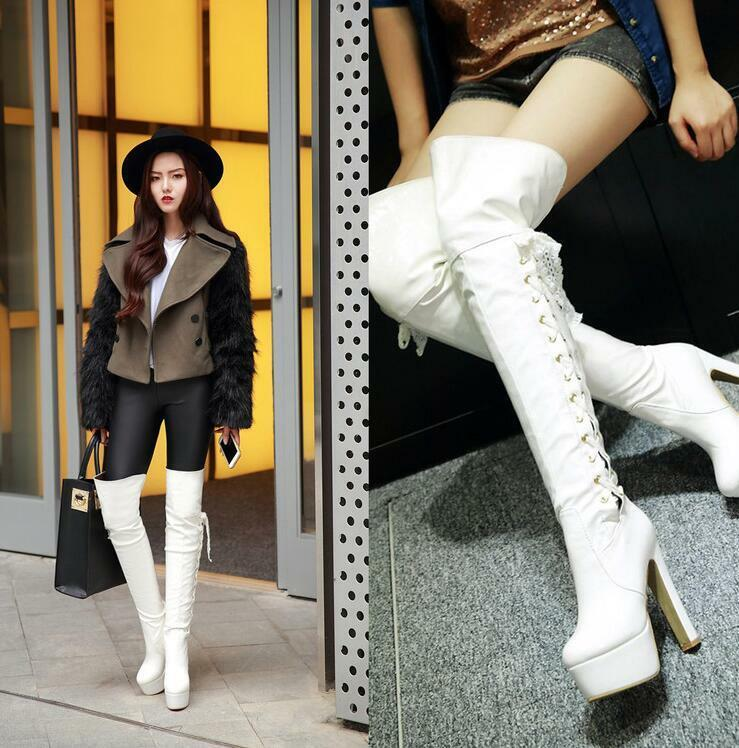 Donna Over Platform Chunky High Heels Patent Pelle Over Donna Knee Stivali Lace Up Shoes V 06e1af