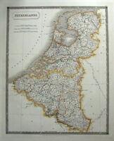 NETHERLANDS, HOLLAND, BELGIUM, LUXEMBOURG S.Hall large original antique map 1828