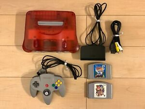Nintendo-64-Console-games-set-Clear-Red-w-Mario-Party-Top-Gear-Rally