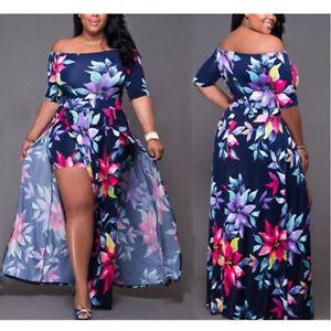 Plus-Size-Women-Trousers-Bodycon-Jumpsuit-Romper-Short-Clubwear-Playsuit-Dress