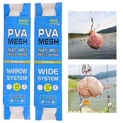 2 Pieces 5m PVA Water-Soluble Fishing Bait Net Accs Mesh Bag for Solid Baits