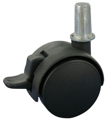 Satz 4x Möbelrolle Doppelrolle weiches 2x Rad Ø40 Kunststoff-Hülse Ø 14x28