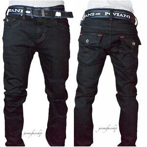Uomo-Peviani-Aderente-G-Jeans-Neri-Urban-Star-Slim-Bar-Pantaloni-Denim-Hip-Hop