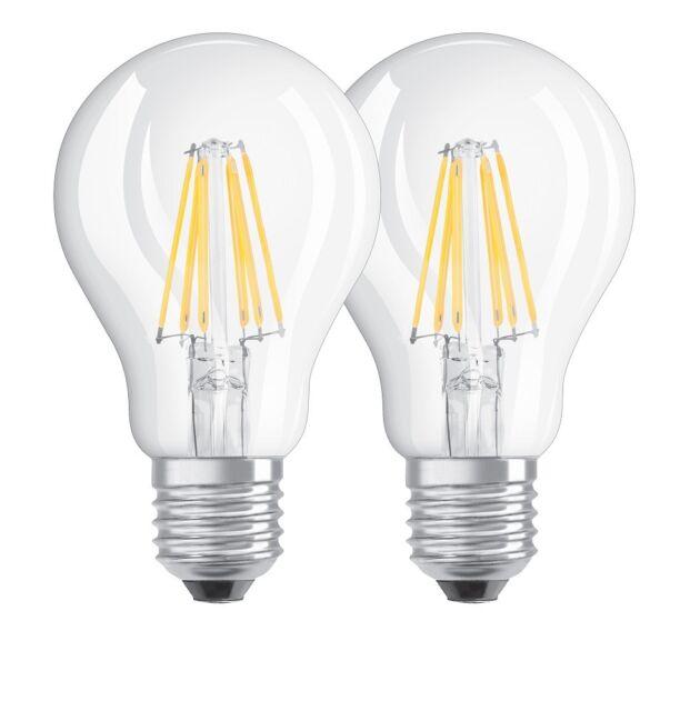OSRAM LED BASE CLASSIC A 60 FS Warmweiß Filament Klar E27 Glühlampe Doppelpack