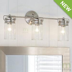 Bathroom Vanity 3 Light Fixture Brushed Nickel Jar Wall ...