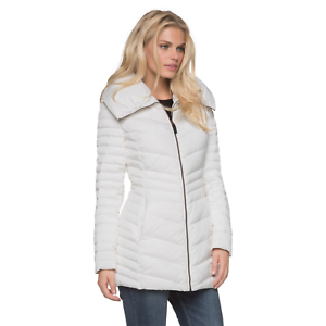 Women's Marc NY Plus Chevron Quilted Down//Feather Jacket White 2X #NKTU3-1061