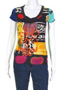 Desigual-Da-Donna-Graphic-Logo-Ricamato-Maglietta-Multi-Color-Taglia-Small