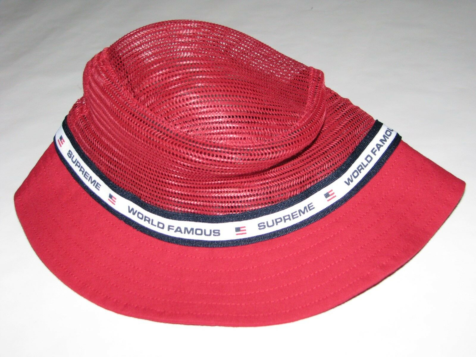 Supreme Mesh Crown Crusher Red Bucket Hat Cap Small   Medium S s ... a1cca8a9d95a