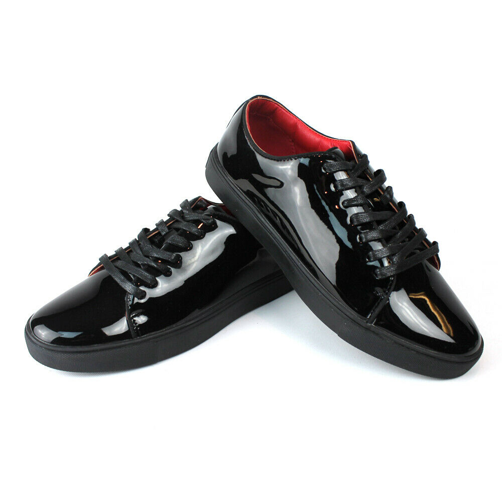 Santino Men's Black Patent Leather Tuxedo Dress Sneakers Red Insole Lace Up 441