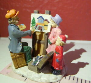 Victorian-Village-Artist-Lady-and-Child-Grandeur-Noel-1999-Christmas-Replacement