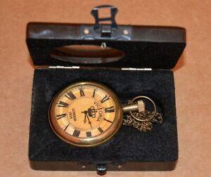 Antique-vintage-maritime-brass-pocket-watch-kelvin-amp-hughes-and-wooden-box-gift
