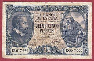 Spain. 25 Pesetas 1940 Serie: C ( Bc / F ) We4o2s6m-07232051-818693701