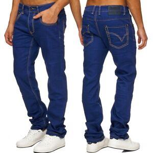 Herren-Jeans-mit-Umschlag-Regular-Fit-kariert-blau-Five-Pocket-Denim-Elliot