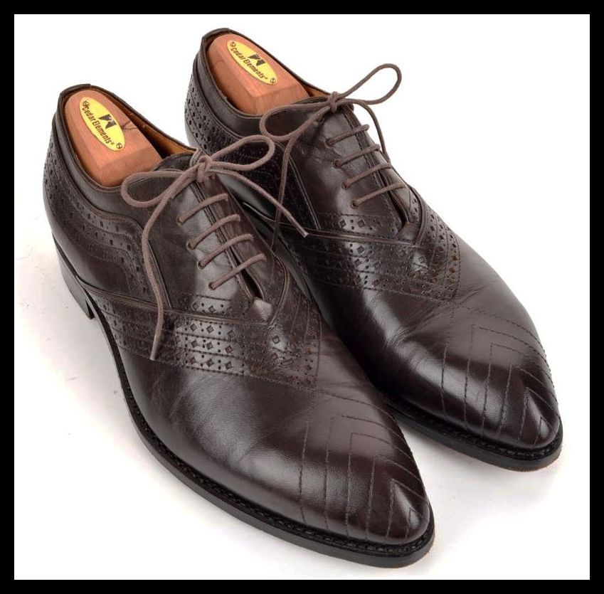 ZALIN Unique Solid Brown Leather Oxford Mens Dress shoes -   US 10.5