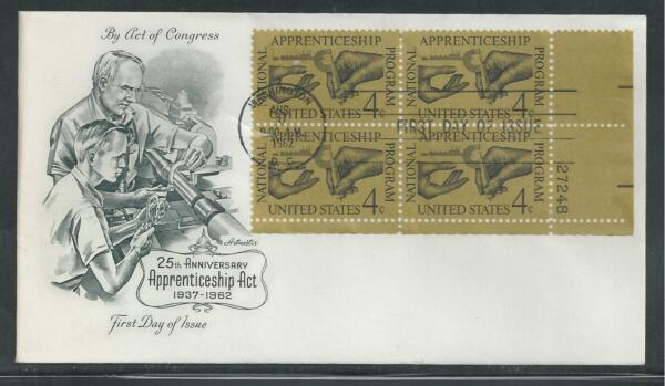 # 1201 25TH ANNIV APPRENTICESHIP ACT 1962 Artmaster Plate Block First Day Cover