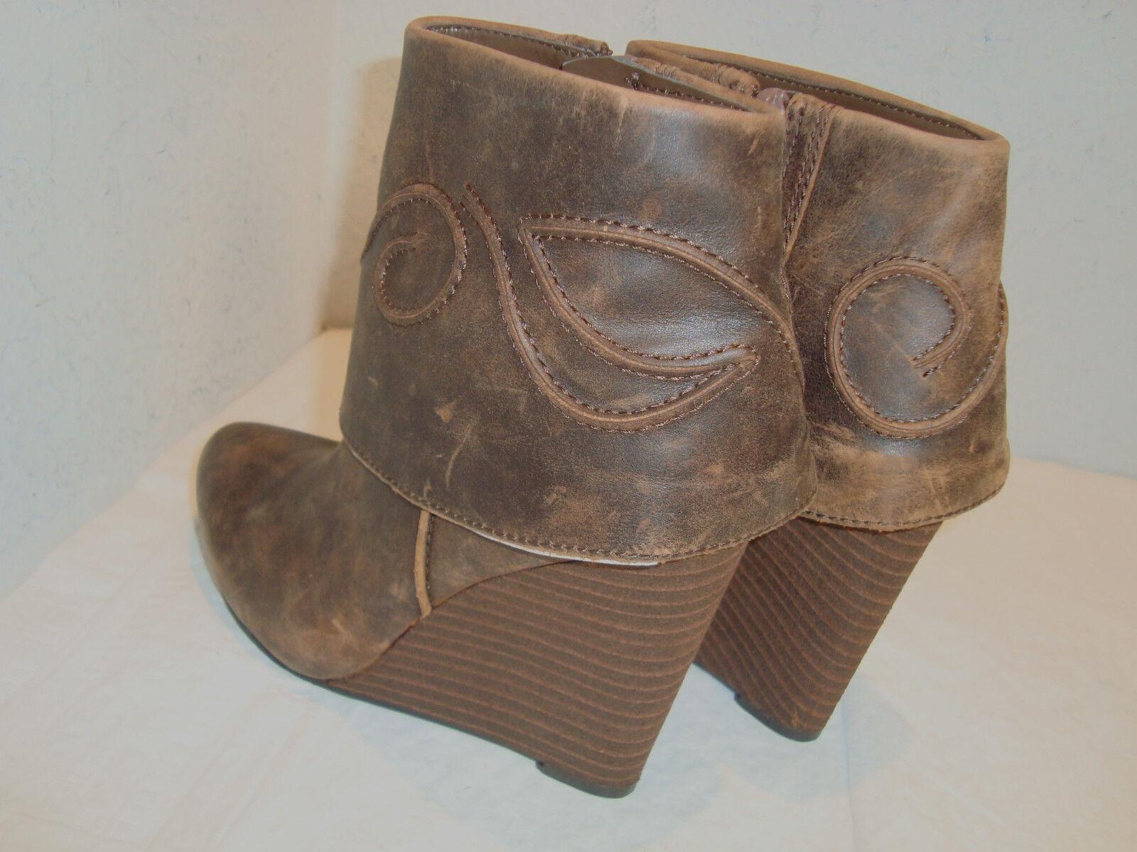 NEU Carlos By Carlos Santana Damenschuhe Trace Braun Wedge Ankle Stiefel 5.5 Medium
