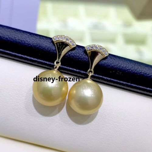 Details about  /Pretty design AAA+9-10mm south sea Natural gold black round pearl earrings 18k