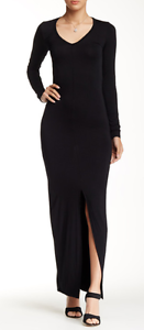 American Twist V-Neck Maxi Dress Black XL NWT $128