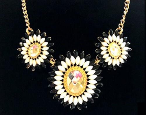 Collar de Moda de Joyas tres Flores con Plata Piedras ** ** Elegir
