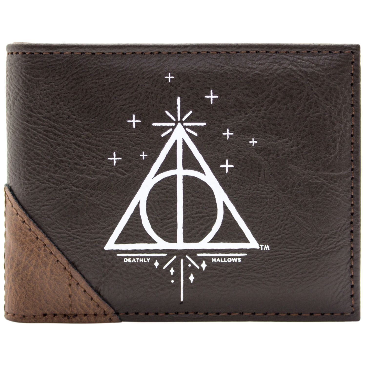 NEW OFFICIAL HARRY POTTER DEATHLY HALLOWS BROWN ID & CARD BI-FOLD WALLET