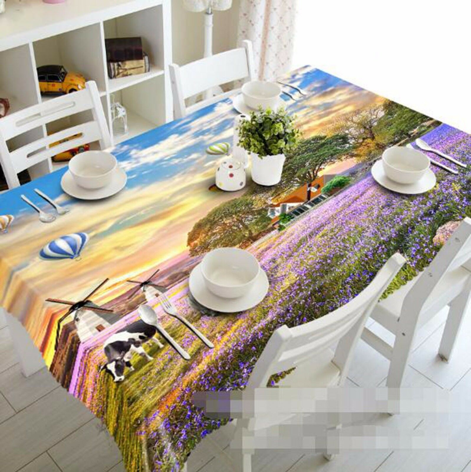 3D Field Cow Tablecloth Table Table Table Cover Cloth Birthday Party AJ WALLPAPER UK Lemon 5c374c