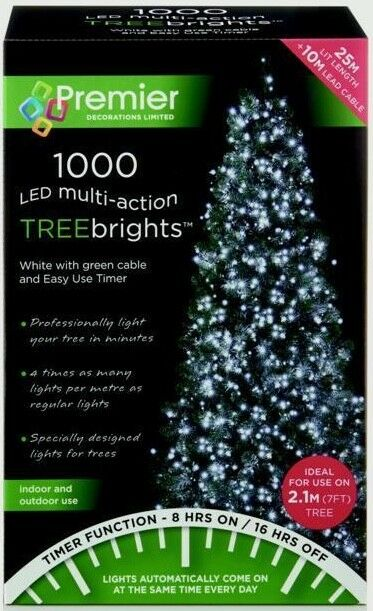 Premier Decorations Treebrights Led Christmas Tree Indoor Outdoor String Lights Clear White 1000 Ebay