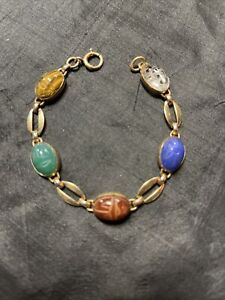 VINTAGE GOLD FILLED GEMSTONE CARVED SCARAB BRACELET SIGNED 1/20 12KGF
