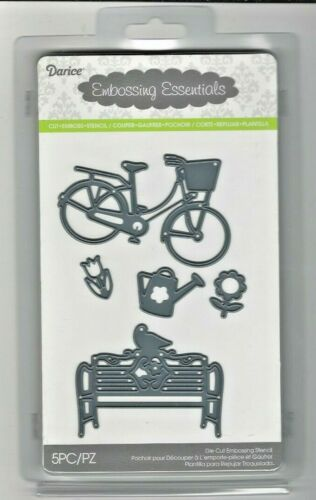 Darice  DIE CUT /& Embossing STENCIL NIP   BENCH BIKE FLOWER  5 PC S6