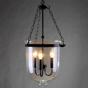 Retro-Rustic-Clear-Glass-Bell-Jar-Shade-Hanging-Pendant-Light-amp-3-Candle-Lights