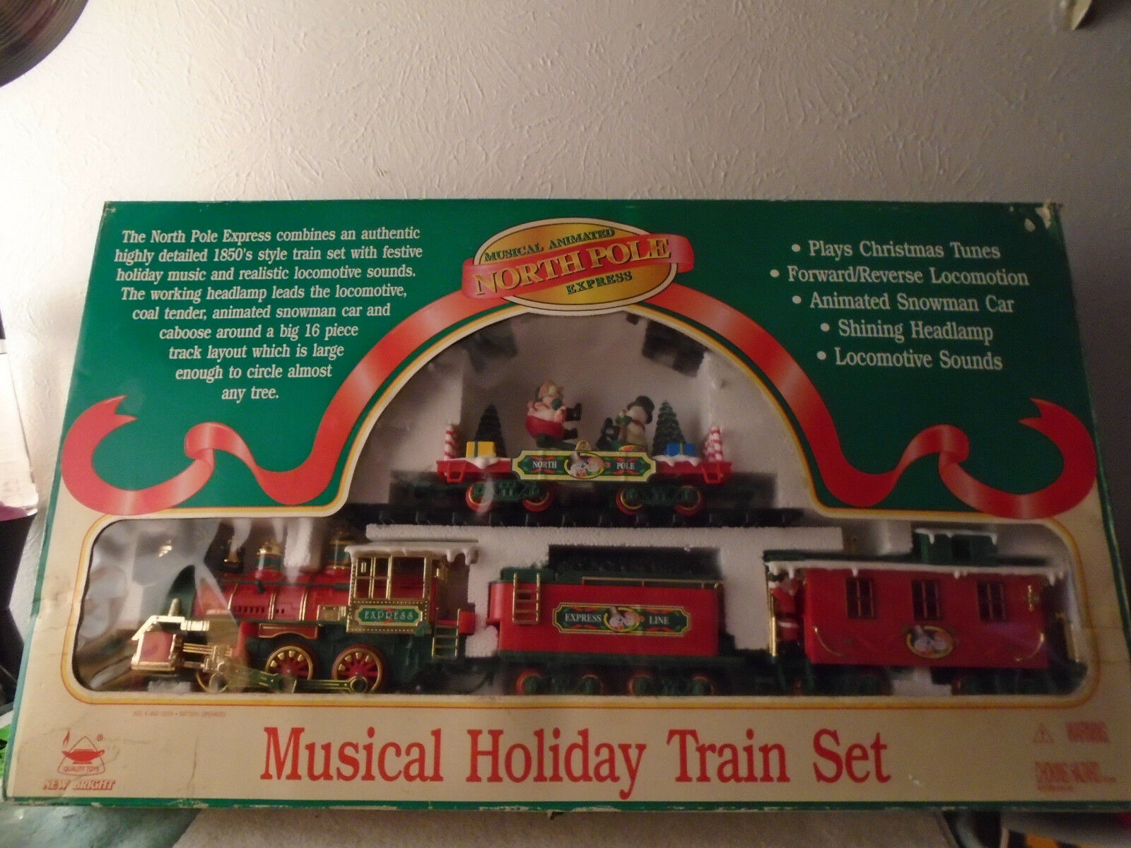 1997 nuovo BRIGHT MUSICAL ANIMATED CHRISTMAS NORTH POLE EXPRESS TRAIN SET G SCALE